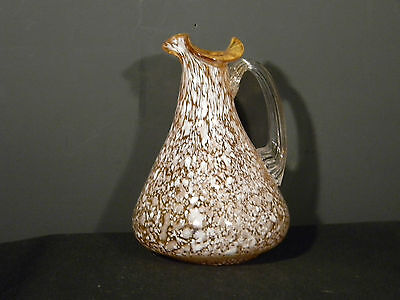 Spatter Glass Brown n white Cruet over 4 inches high  (2931)