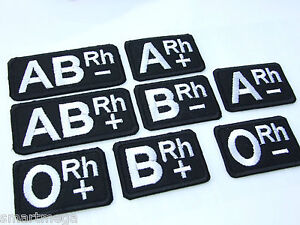 Lot-of-2-Blood-Group-Type-Iron-On-Patches-Tactical-Kit-Black