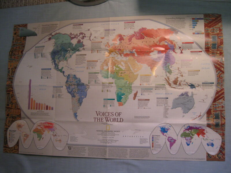 VOICES OF THE WORLD +CULTURES LINGUISTICS LANGUAGES MAP National Geographic 1999