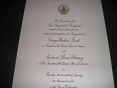 White House President George W Bush Inaugural Invitation 2005