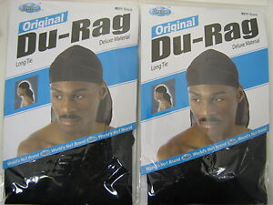 2 PCS Brand New Black Sports Regular Durag Biker Head Wrap