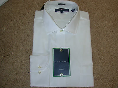TOMMY HILFIGER MENS WHITE DRESS SHIRT SIZE 16 1/2-34/35 SLIM FIT MSRP $69.50 NWT