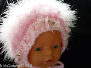 NEW-BABY-GIRL-DOLL-HAND-CROCHETED-BONNETS-WITH-SWAN-LACE-RIBBON-PEARL-FABULOUS