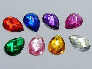100 Flatback Acrylic Rhinestone TearDrop Gem 13X18mm No Hole Pick Your Color