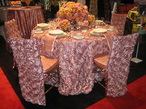 120 Rosette Satin Tablecloth 22 Colors Ribbon Rose Wedding