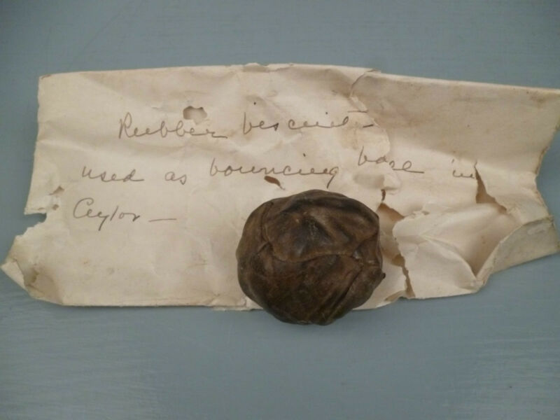 Antique Ceylonese Rubber Biscuit Used as Bouncing Ball - Old Estate Note VR