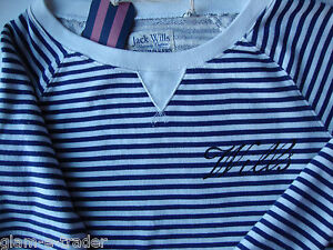 JACK WILLS Women's Navy & White Stripe Middridge Crew Sweat Top Size 8 BNWT