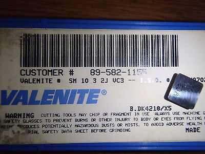 5 Valenite Sm 10 3 2j Vc3 Carbide Inserts