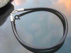 Black Leather Cord Bracelet with Sterling Silver Ends and Clasp