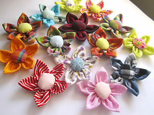 SALE !! 4 X HANDMADE ASSORTED FABRIC FLOWERS