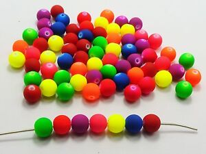 200 Mixed Matte Fluorescent Neon Beads Acrylic Round Beads 8mm Rubber Tone