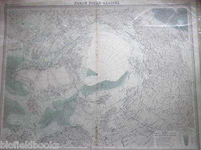 Original 1925 Antiquarian Map of North Polar Regions - Times Atlas, Arctic