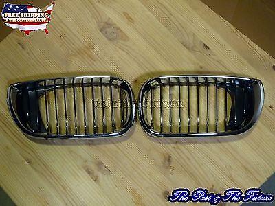 Bmw E46 3-series 4dr Front Hood Grille Grill Chrome Black Pair Gb-bm33000b1l+r