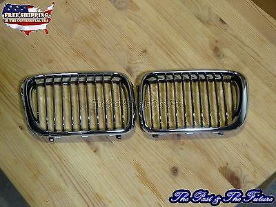Bmw E36 3-series Front Grille Grill Chrome / Chrome Blk Pair Gb-gl-bm32000b2l+r