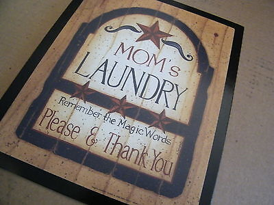 Wood Country Retro Primitive LAUNDRY Room Sign Magic Words PLEASE THANK YOU