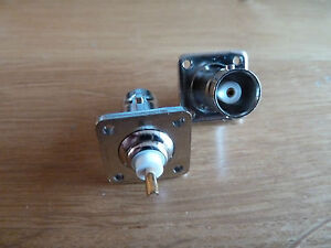 2 BNC Chassis Mounting Sockets 50 ohm Video RF 4 hole