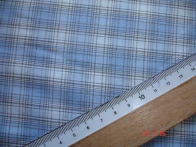 1 Laufmeter Baumwollbatist 2,47€/m² weiß, hellblau,  kariert  AB83