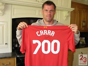 VERY SPECIAL LIVERPOOL 700 SHIRT SIGNED ON THE FRONT & BACK BY JAMIE CARRAGHER