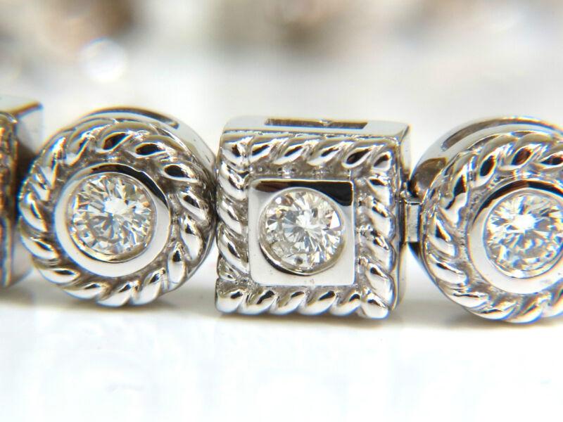 █$8000 1.93CT DIAMONDS ROPE TWIST CIRCLE BOX DIAMOND BRACELET 14KT F/VS HEAVY█