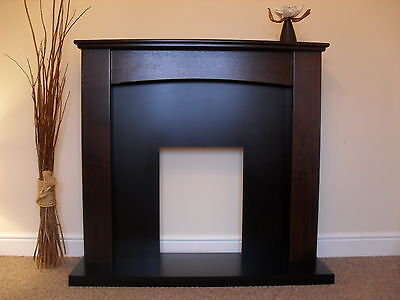 Electric Walnut Black Modern Traditional Freestanding Fire Fireplace Suite Set