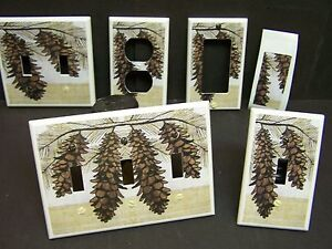 Rustic Cabin Pine Cones And Branch 21 Light Switch Cover