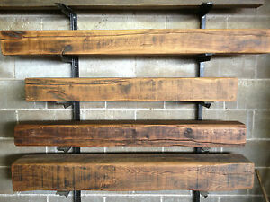 6 x 6 Air dried Solid oak beam mantel piece fireplace inglenook floating shelf