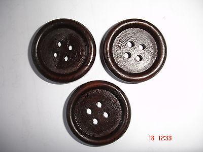 3 Stück Knöpfe Holz dunkelbraun 25mm K301.7