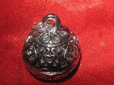 18mm Globe Shiny Silver Ball Sphere Poison Locket Charm Pendant Necklace