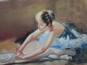 Ballerina-Oil-Painting-28x16-not-poster-or-print-Abstract-art-Fine-art-Ballet