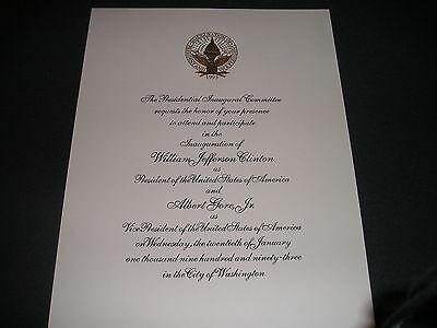 White House President Bill Clinton Inauguration Invitation 1993