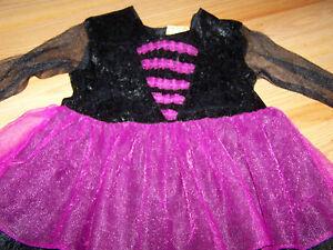 Infant-Size-12-18-Months-Witch-Costume-Purple-Black-Velour-EUC