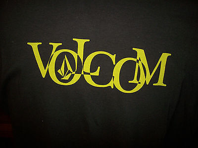 Volcom Brand Graphic Short Sleeve T Shirt Brown Yellow Name Logo Sz Small S