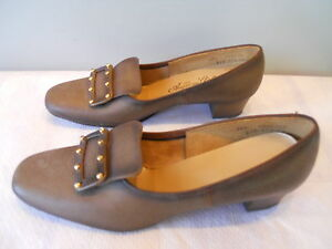 Nos-Vintage-1950s-60s-Brown-Leather-Shoes-Pilgrim-Rockabilly-Pinup-Mod-Swing-8-5