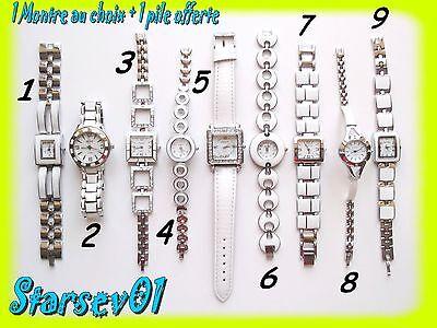 Montre Femme Blanche Bracelet Metal Ou Simili Cuir Avec Et Sans Strass + 1 Pile