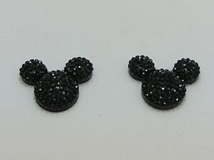 20 Black Flatback Rhinestone Mouse Gem Beads 24X20mm Flat back Resin
