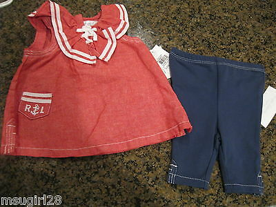 NWT 6 mos baby girl Ralph Lauren nautical 2pc outfit red top blue pants white Baby Girl Ralph Lauren Pants