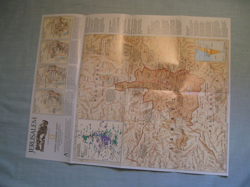 THE OLD CITY JERUSALEM + JERUSALEM MAP National Geographic April 1996 MINT