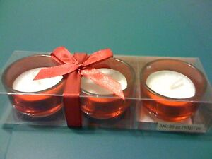 New-set-of-3-brand-new-ruby-red-glass-tealight-candle-holders-with-candles