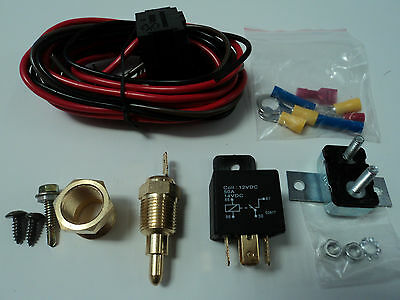 Electric Fan Wire Harness Kit Complete Thermostat 50 Amp Relay 185° Wiring 350