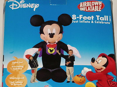 Rare 8' Tall Lighted Mickey Mouse Vampire Halloween Airblown Inflatable
