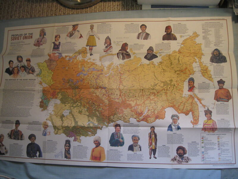 PEOPLES OF THE SOVIET UNION +PHYSICAL MAP National Geographic February 1976 MINT