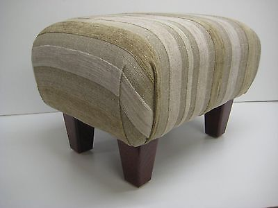 Footstools In A Laura Ashley Maxwell Natural Stripe Fabric