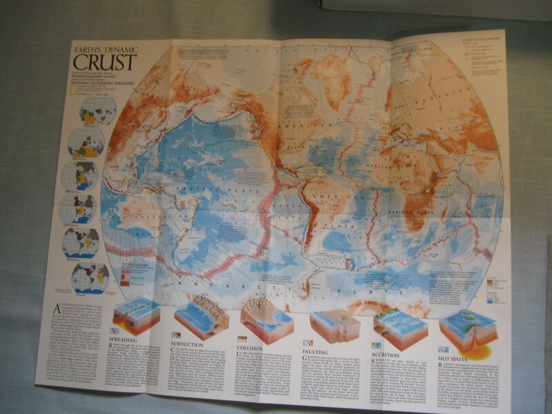 EARTH'S DYNAMIC CRUST + SHAPING A CONTINENT MAP National Geographic August 1985
