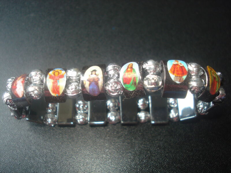BEAUTIFUL & COLORFUL HOLY SAINTS HEMATITE STREATCHABLE BRACELET(USA SELLER)(6M1)