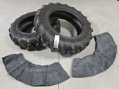 2 13.6x28 Tractor Tires + Innertubes Ford Holland 8 Ply 13.6-28 13.6 28