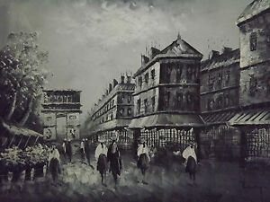 Paris-Large-Oil-Painting-Canvas-Arch-De-Triumph-Black-White-French-Art-Cityscape