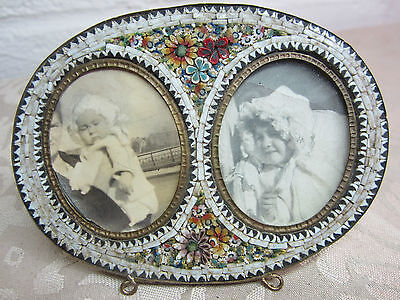 Antique Micro Mosaic Oval Double Picture Frame ornate flowers leaves 1900 toc