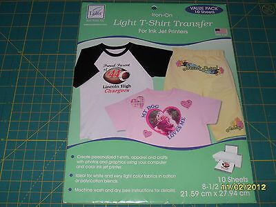 June Tailor - IRON ON LIGHT T-SHIRT TRANSFER - for inkjet printers - 10 SHEETS