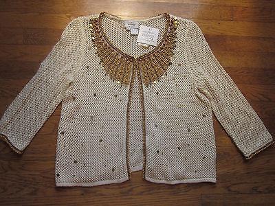 Just B Berek Stunning Beaded Cape Shrug Sweater Wood Beads M Medium Crochet