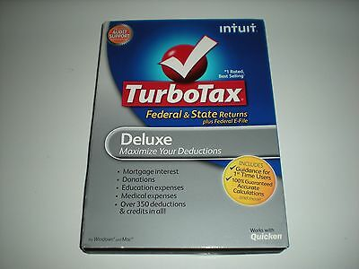 Turbotax 2012 Deluxe. Federal And State + Federal E-file. In Sealed Box.